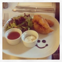 Smiley chicken goujons