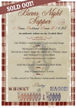 Burns night supper sold out menu